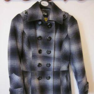 Apt 9 Wool Blend Blue Plaid Coat Jacket Med